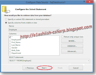 GridView Configure Select Statement