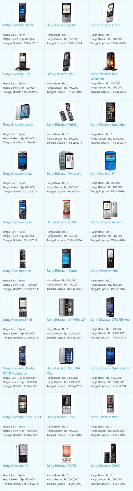 Daftar Terbaru Harga Hp Sony Ericsson Oktober 2015