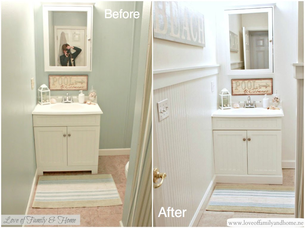 Hallway bathroom makeover reveal love of family home for Bathroom makeover before and after