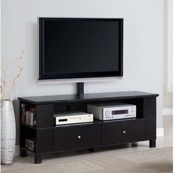 walker edison black wood tv stand storage