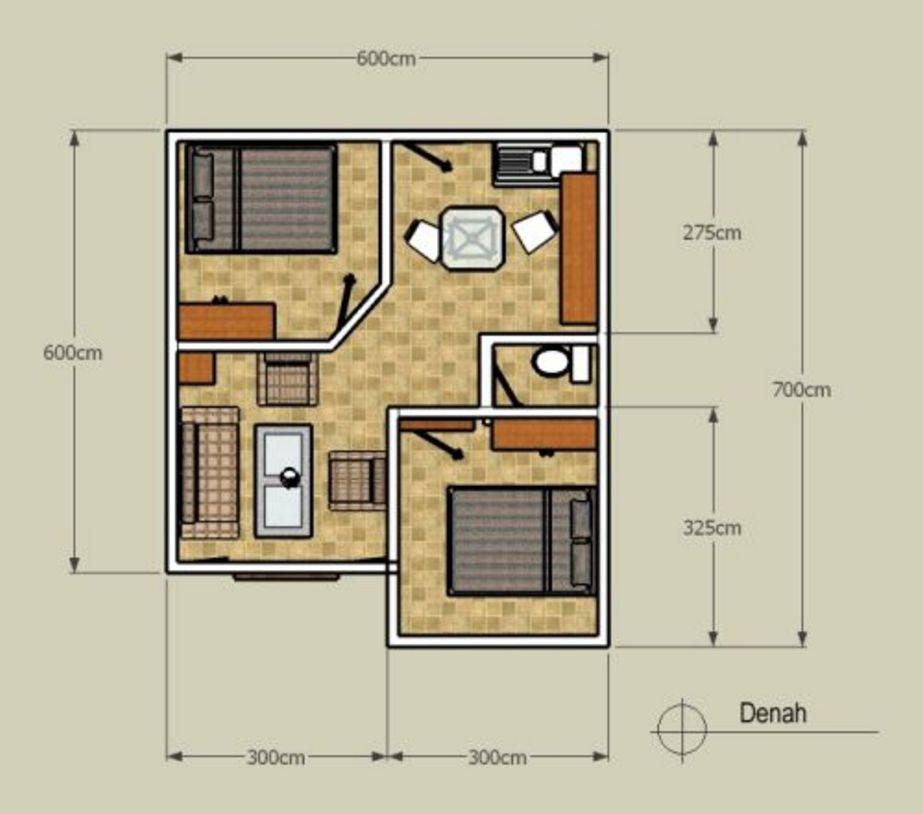 gambar denah rumah minimalis 1 lantai type 36 terkini