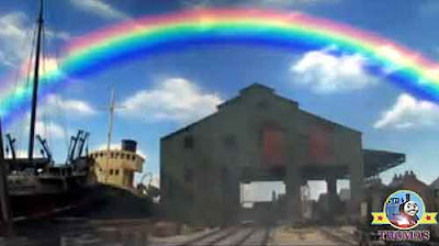 Thomas tank red blue yellow orange green colorful rainbow in the sky Thomas the train and friends