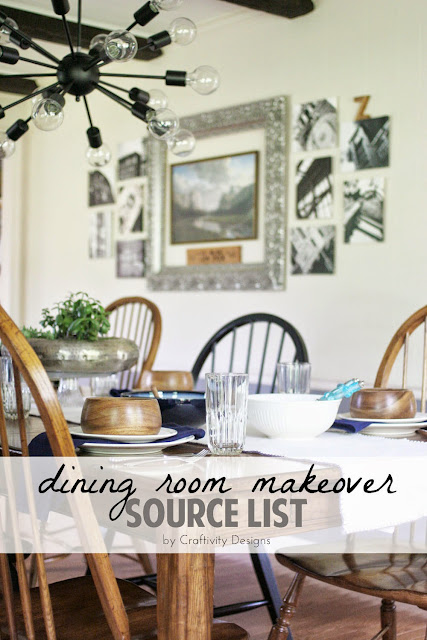 Grey & Cream Dining Room Makeover with Sputnik light, Farmhouse Table and Gallery Wall // Product Sources // by Craftivity Designs