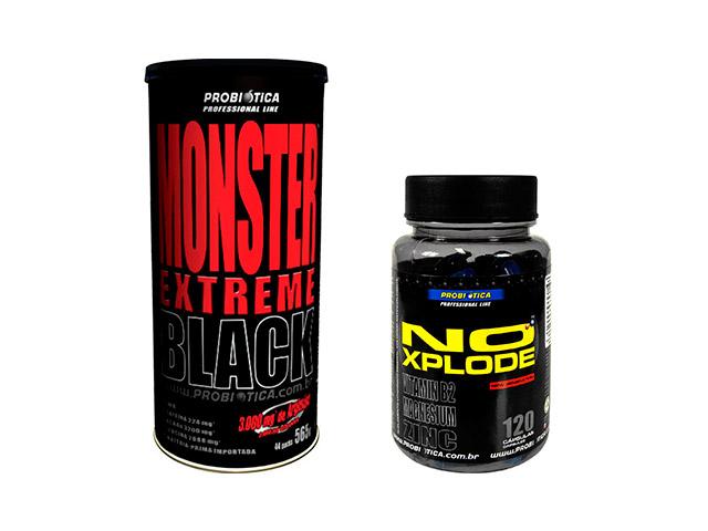 Suplementos Monster Extreme Black e No Xplode, da Probiótica. Foto: Divulgação