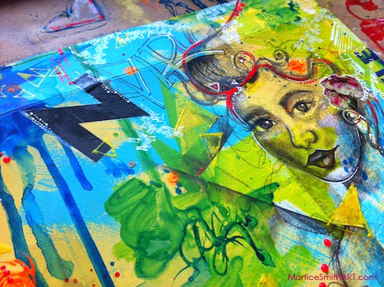"""Article 'The Courage to Start Art' featuring """"No Compromise"""", mixed media illustration by Martice Smith II"""