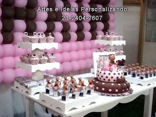 decoração provencal ursa marrom e rosa