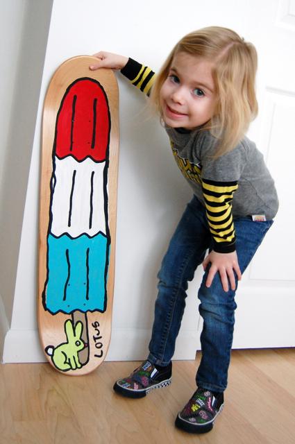 hey jen renee kid art paint a skateboard deck