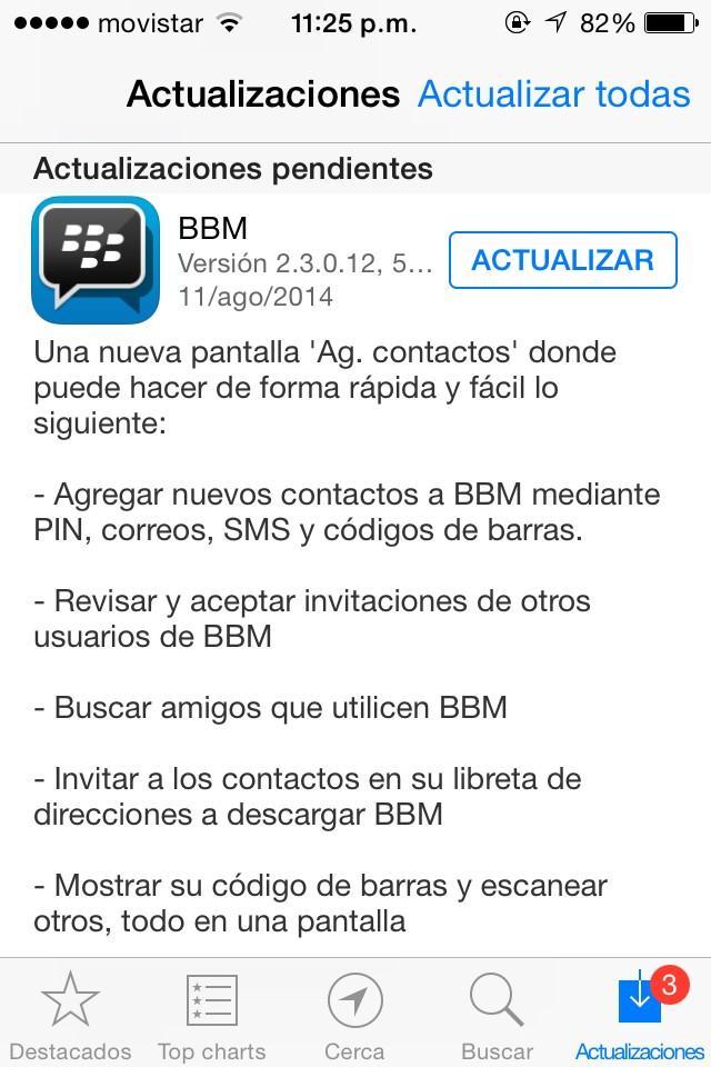 """BlackBerry ha lanzando una nueva actualización de BBM para los usuarios de iOS. Esta actualización lleva a la aplicación a la versión 2.3.0.12 y ya está disponible a través de iTunes para descargar en sus dispositivos iOS. La nueva actualización trae nuevas formas de agregar contactos de BBM a través de la nueva pantalla """"Agregar contactos"""". El nuevo diseño """"Agregar contactos"""" le permite: Añadir nuevos contactos de BBM por PIN, correo electrónico, SMS, y código de barras Revise y acepte invitaciones de otros usuarios de BBM Encuentra amigos utilizando BBM Invitar a contactos de la libreta de direcciones para descargar"""