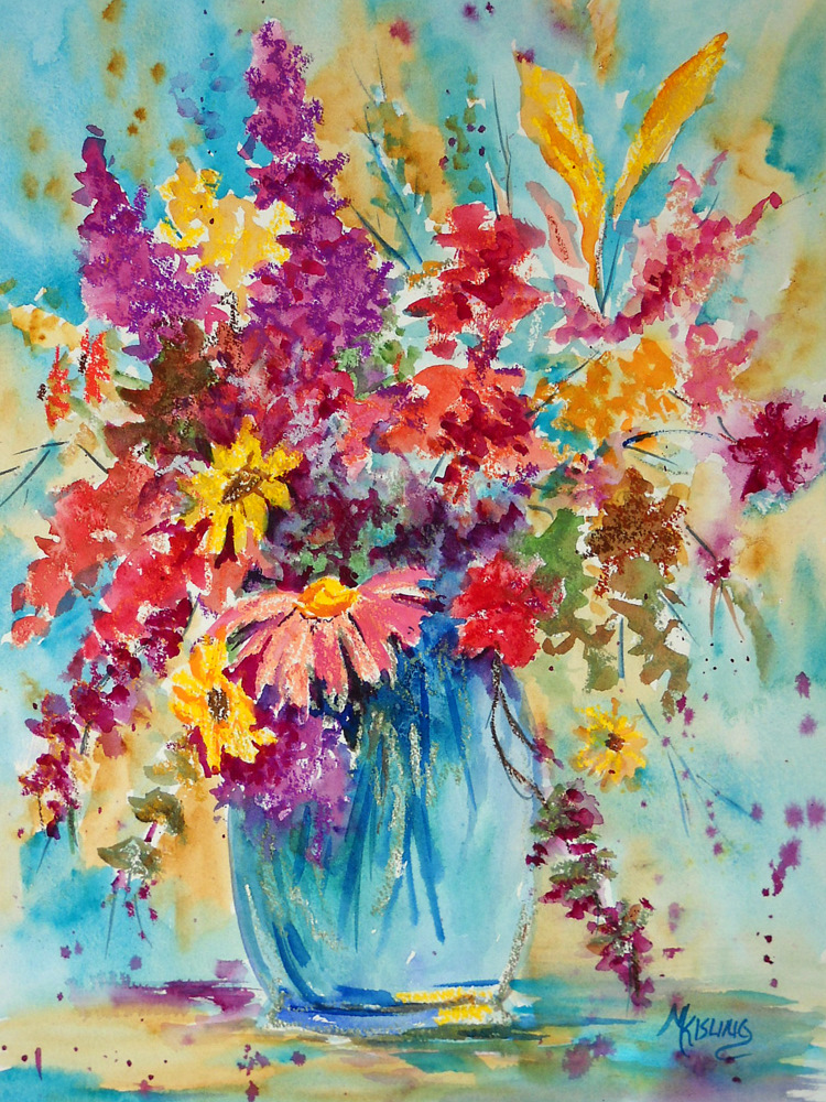 Oil Pastels With Watercolor For A Mixed Media Bouquet Of Flowers