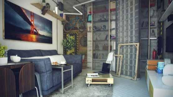 desain casual, desain rumah minimalis, gaya industrial
