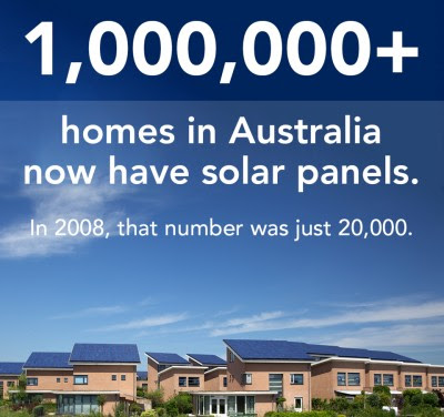 in 5 years Australia went from 20,000 to 1 million homes with solar power