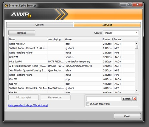 AIMP Internet radio