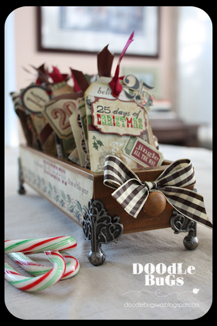 This rustic drawer with industrial elements is great for storing Christmas cards.