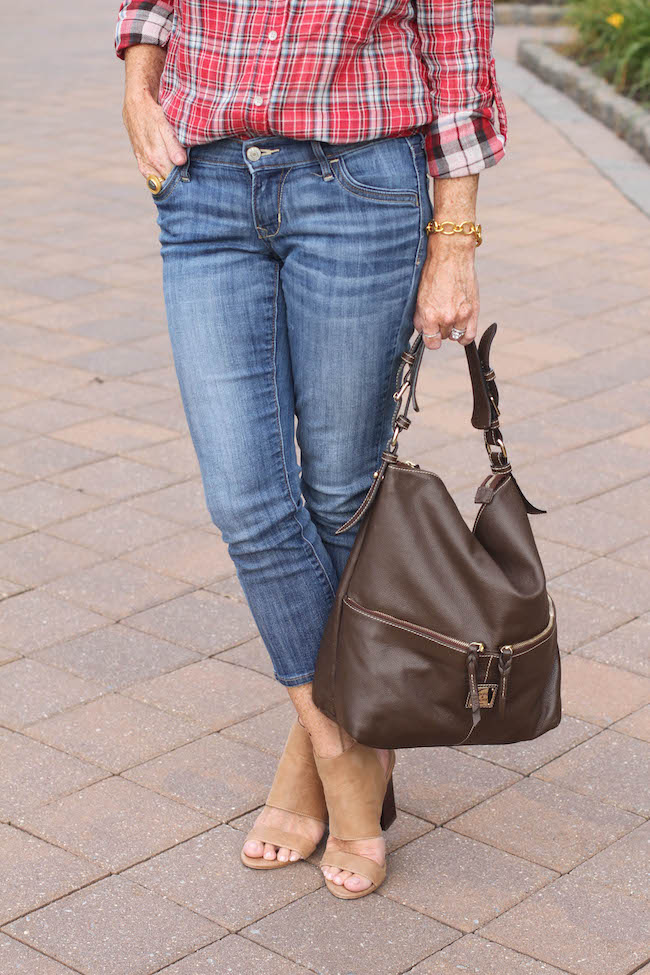 old navy jeans, julie vos jewelry, steven booties, dooney & bourke hobo