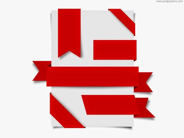 Red Ribbons Set PSD