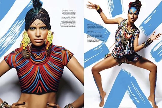 tribal fashion, indian designers, Label Ritu Kumar blouse, feather earrings, cutwork bangles, Curio Cottage, Deepa Gurnani