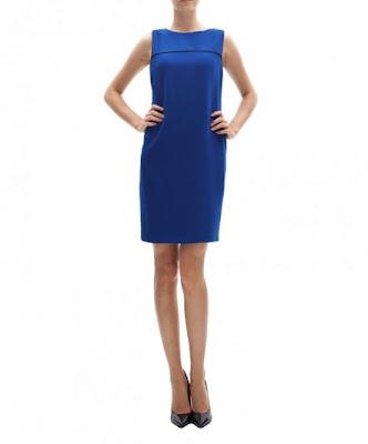 koton klasik kesim mavi elbise günlük elbise, ofis elbisesi