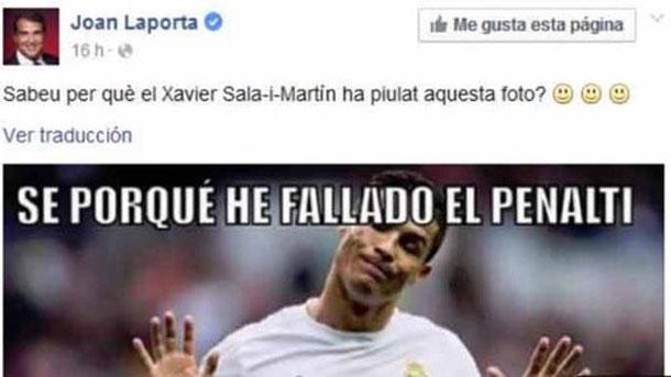 Laporta se mofa del penalti fallado por Cristiano Ronaldo
