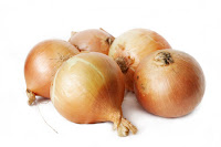 Couple of onions on white background