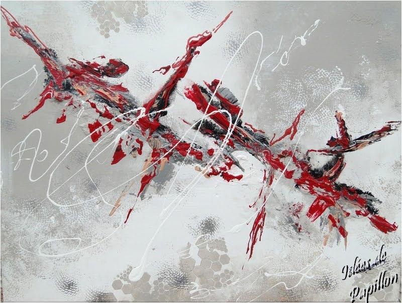 Id es de papillon d 39 autres peintures abstraites vous for Tableau abstrait gris et rouge