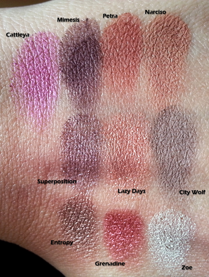 Nabla Cosmetics - Swatches di Cattleya, Mimesis, Superposition, Entropy, Petra, Lazy Days, Grenadine, Narciso, City Wolf, Zoe