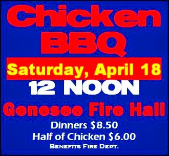 4-18 Chicken BBQ at Genesee Fire Hall