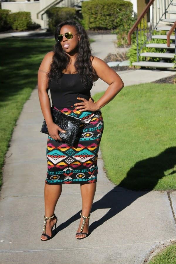 Multi-color Aztec Tribal Print Skirt DIY clutch Mirror Aviator sunglasses