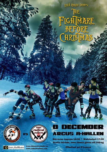 Luleå roller derby möter Ume radial rollers 8 december 2012 i Arcus A-hall kl 17:00