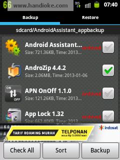 pilih aplikasi ► Backup