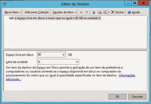 Editor de Destino no Windows Server 2012