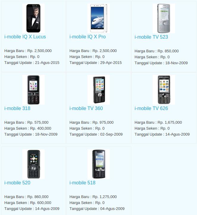 Daftar Harga Hp i-Mobile Desember 2015