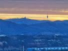 Panoràmica de la Serra de Collserola amb el Tibidabo i la Torre de Collserola de Norman Foster, des de la Serra de Les Torretes