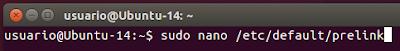 sudo nano /etc/default/prelink