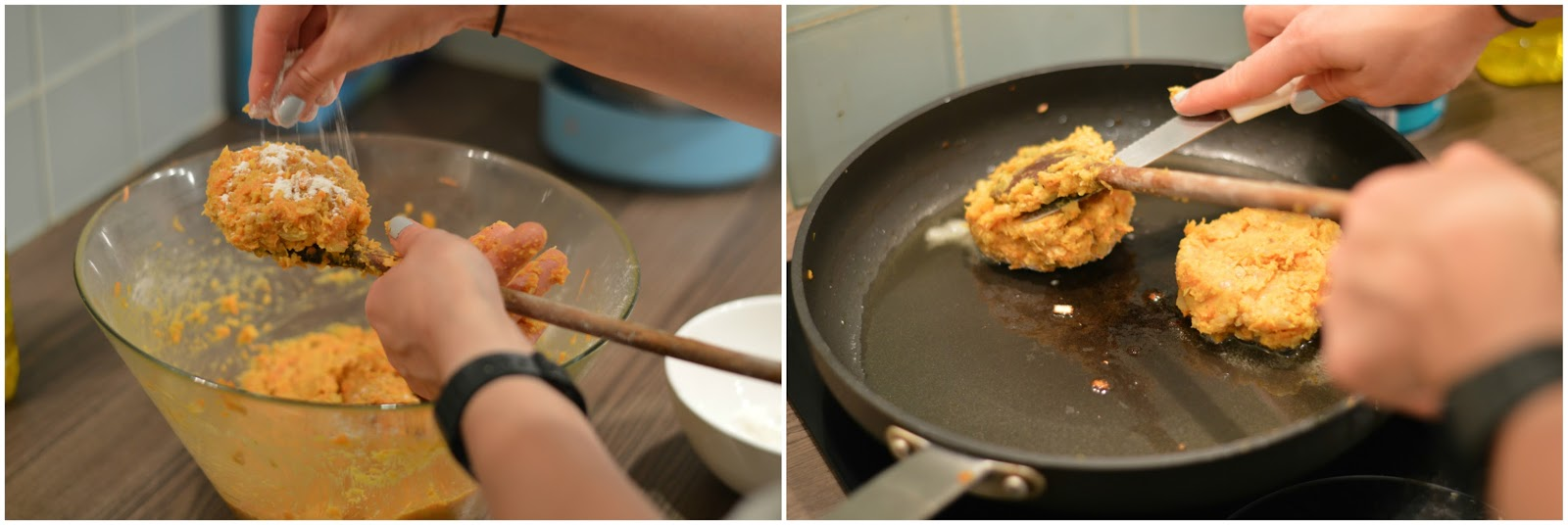 Making and frying sweet potato and chickpea cakes burgers patties vegetarian recipe