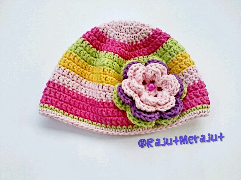 topi bayi rajut, crochet baby hat, baby hat, topi rajut, rainbow color, crochet baby hat rainbow color