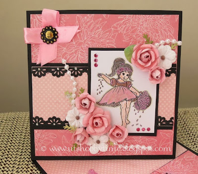 card using handmade flowers