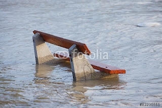 Pic of bench surrounded by flood waters