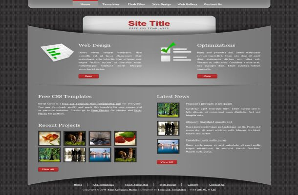 Free Dark Grey Black CSS HTML Website Template