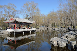 Pavilion and lake in Ritan Park in Beijing