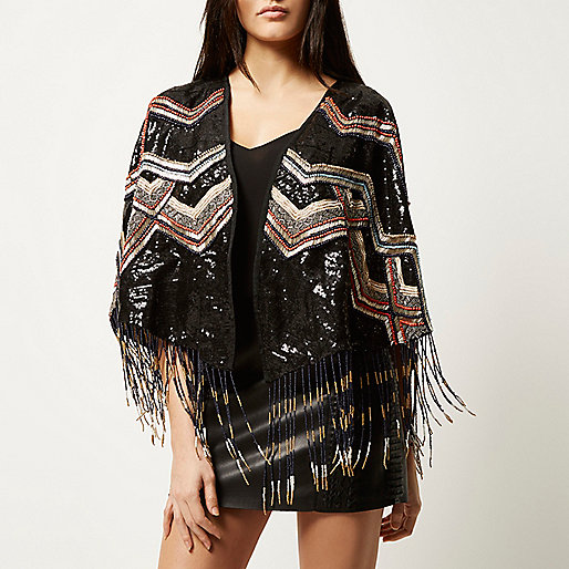 limited edition river island cape, luxury sequin cape, sequin fringed cape,