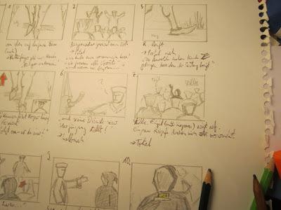 Storyboard-Skizzen zeigen den Rattenfänger und die Bürger von Hameln