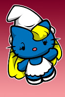Hello Kitty in Smurfette costume