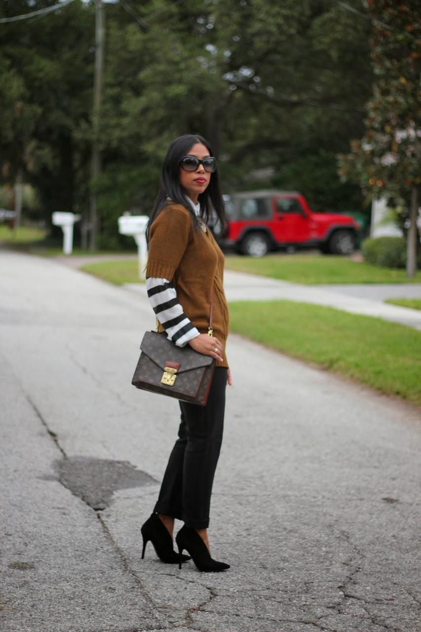 Nine west castillima suede pump striped shirt blouse short sleeve sweater louis vuitton monceau vintage