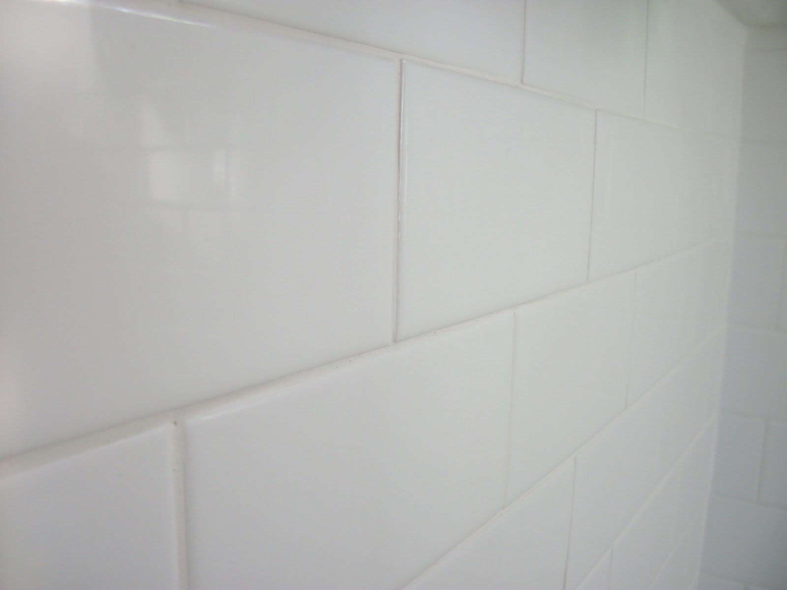 White Subway Tile Texture Upstairs Bath Remodel