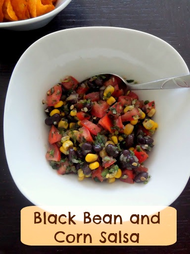 Black Bean and Corn Salsa:  Delicious salsa packed with healthy black beans and corn.  Great as a gameday snack, with tacos, or anytime.