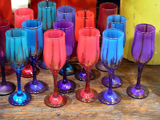 colored glassware display
