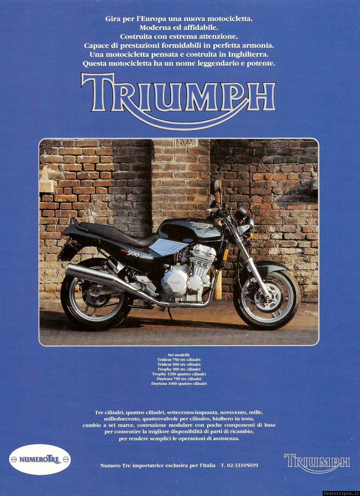 Racing Cafè: Pubblicità Triumph - Numero Tre 1991