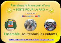 """Parrainez le transport d'une """" BOÎTE POUR LA PAIX """""""
