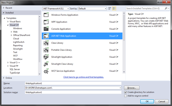 How to make MVC5 sample project in Visual Studio 2010/2012/2013 ...