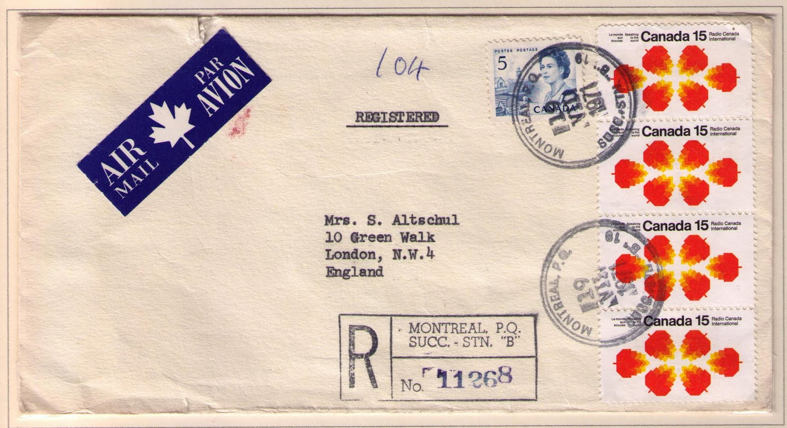 montreal to london july 19 1971 15 cents international air mail letter rate 50 cents registration fee